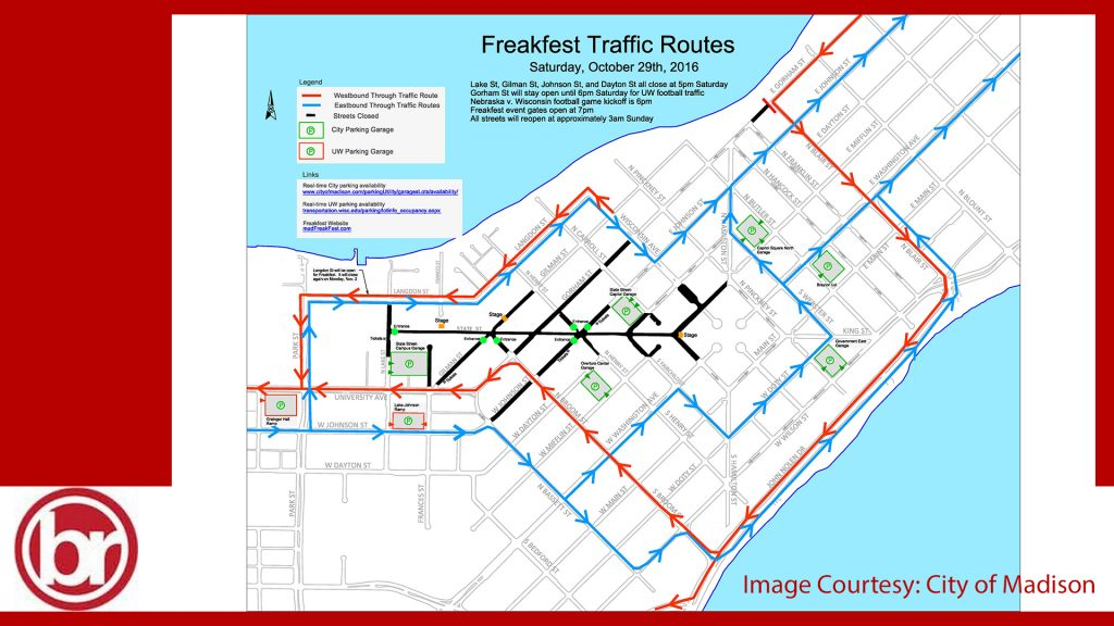 Roads near Freakfest will close Saturday evening until 3 a.m. Sunday. Image courtesy: City of Madisoin