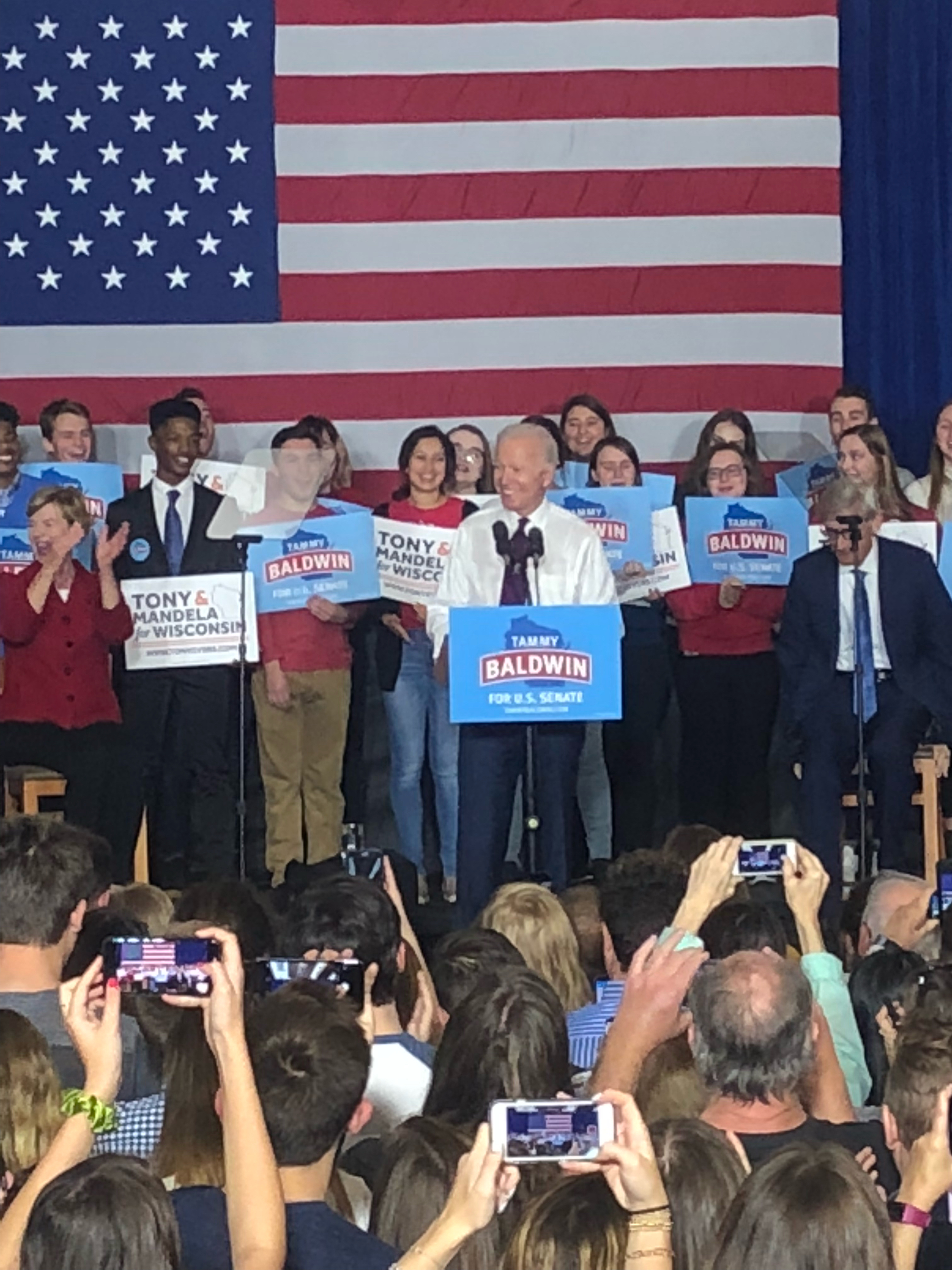 Joe Biden visits UW-Madison campus to campaign for Baldwin, Evers